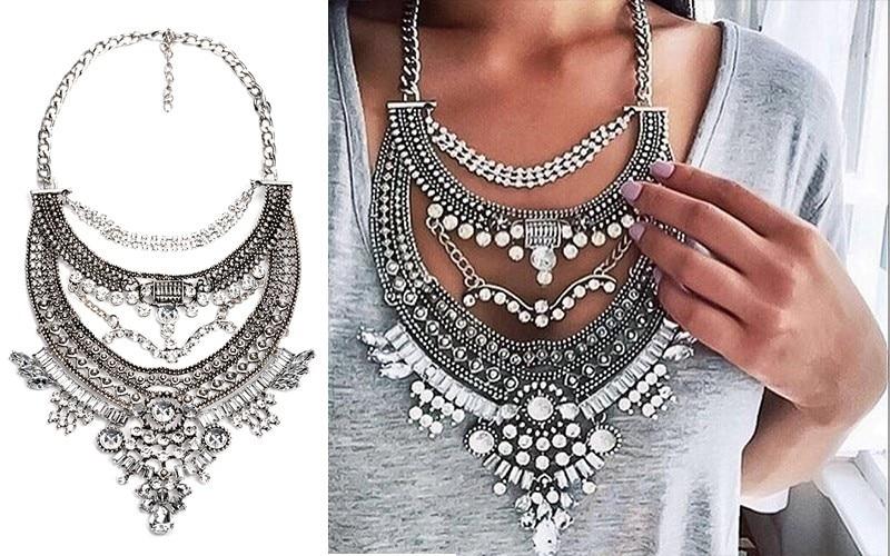 JERPVTE Vintage srebrne ogrlice i privjesci Vintage Crystal Maxi - Modni nakit - Foto 6