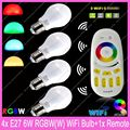 4x E27 Mi.Light 6W RGBW or RGBWW WiFi Compatible LED Bulb Lamp AC85-265V + 1x 2.4G RF Wireless 4-Zone Touch Remote Controller