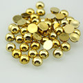 Mixed Size 2MM-6MM Golden Half Pearl Round Beads Flat Back ABS Resin Imitation Scrapbook DIY Craft  Nail Art
