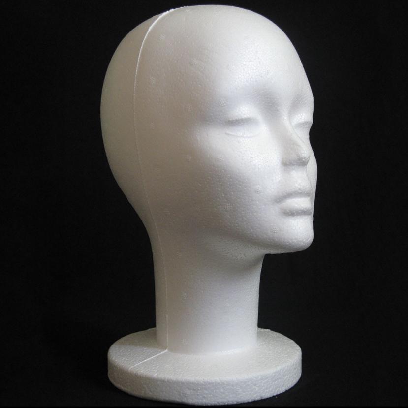Head Model Female Styrofoam Mannequin Manikin Head Model Foam Wig Hair Glasses Display Black fashion hot2017 n11 mannequin
