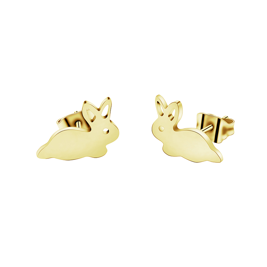 Minimalism Jewellry Gold Color Rabbit Bunny Stud Earring For Women Stainless Steel Animal Earings Fashion Jewelry 2020