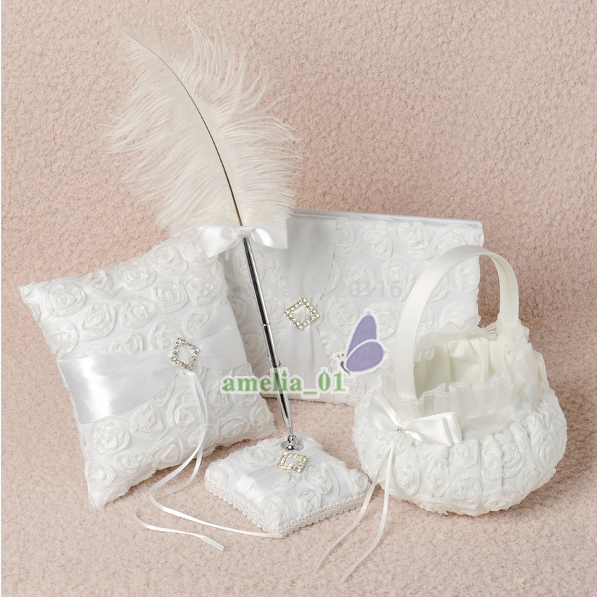 4Pcs lot White rose Flower Decoration Wedding Guest Book Pen Set Ring Pillow Girls Flower Basket