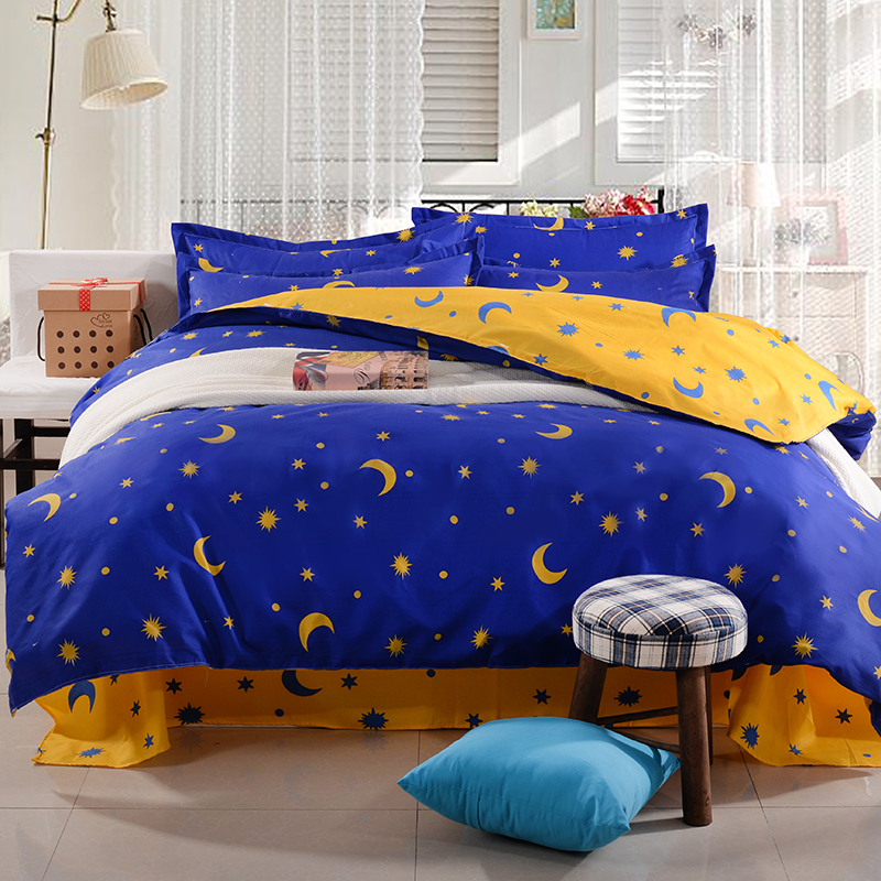 Buy Fashion Cartoon Kid Adult Polyester Blue Star Bedding Sets Duvet Cover Bed