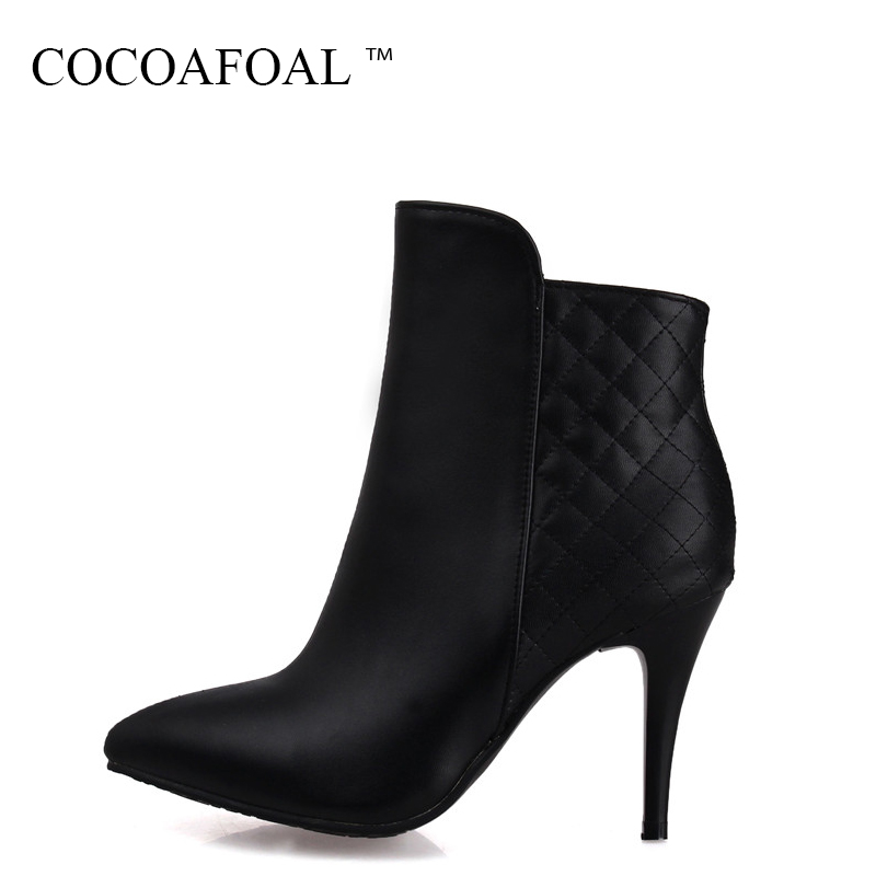 цена на COCOAFOAL Fashion White High Heeled Shoes Woman Autumn Winter Zipper Ankle Boots Plus Size 33 41 43 Sexy Black Martin Boots 2018