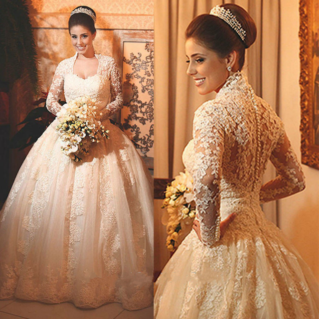 Don's Bridal Real Elegant Lace Bride Gowns Long Sleeves Scoop Neck Court Train Muslim Wedding Dresses 2016 Custom Made