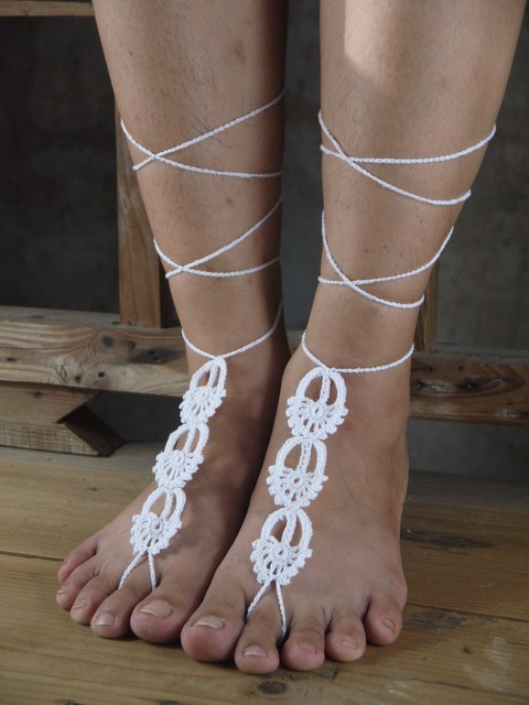 Foot decoration Belly dance shoes Yoga barefoot Beige barefoots Bridal  beach barefoot Crochet beige barefoot Victorian lace x063 1806ed58dfe4