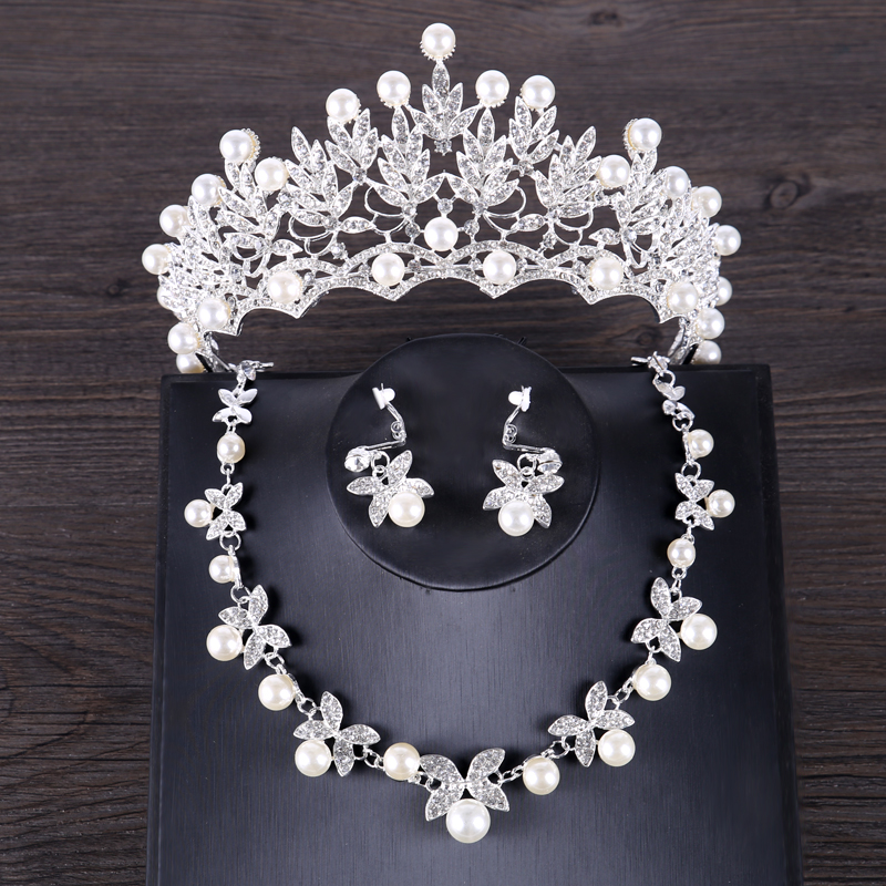 Tiara Earring-Sets Necklace Jewelry Crystal Bride-Crown Silver-Color Luxury Pearl Wedding