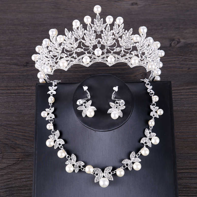 Luxury Simulated Pearl Wedding Jewelry Set Silver Color Crystal Bride Crown Tiara Butterf Necklace Earring Sets Jewelry