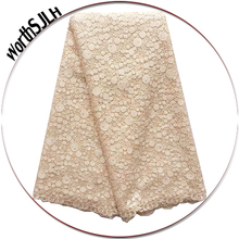 WorthSJLH Shiny Beaded Nigerian Lace Fabrics Latest African Swiss Fabric Pink White French Net 2019 For Women
