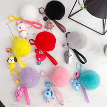 2018 New Kpop BTS BT21 Laser Lanyard pompom Fur Keychain TATA COOKY SHOOKY Pendant Cute Phone Strap Key Chain Ribbon Keyring(China)