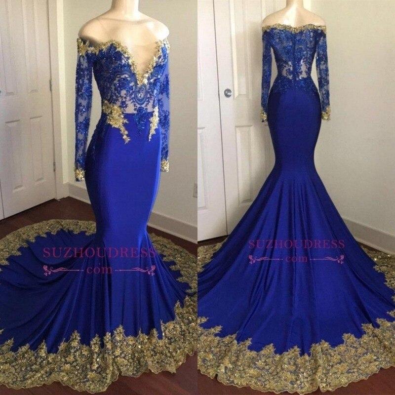2019 Royal Blue Customized Elegant Mermaid Long   Prom     Dresses   Off The Shoulder Long Sleeve   Prom   Gown Vestido de festa longo