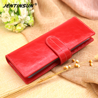 2017 New Fashion Women Card Holder Wallet Genuine Leather Long Design Buckle Clutch Cowhide Large Capacity