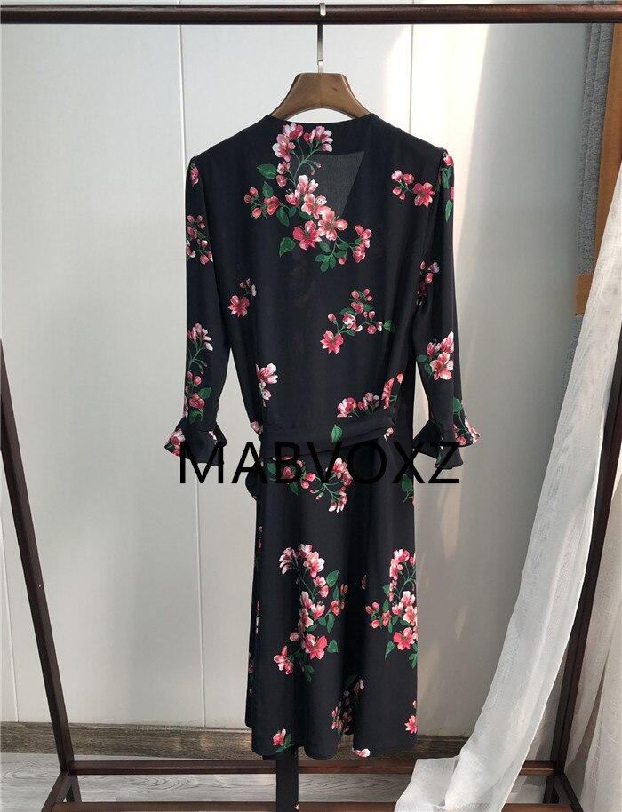 2019 New Women Black Wrap Dress Begonia Flower Print Silk V Neck Dress With Belt