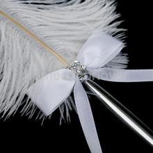 White Ostrich Feather Quill with Golden Love Pen Stand Holder Set