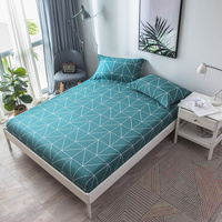 Stylish Rectangle Pattern 160x200cm Fitted Sheet With An Elastic Band Bed Sheets Linen Bedspread Cotton Soft Mattress Cover