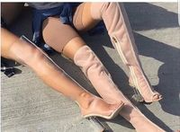 Sexy Women Peep Toe Mesh PVC Boots beautiful Gladiator Sandals Boots Transparent High Heel Over the Knee Clear Heel Boots Woman