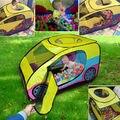 Encantador Dos Desenhos Animados jogar tenda carro grande jogo Ao Ar Livre Indoor Crianças Bebê para a Primavera Camping Carro tenda brinquedo Casa de Jogo com 2 zipper
