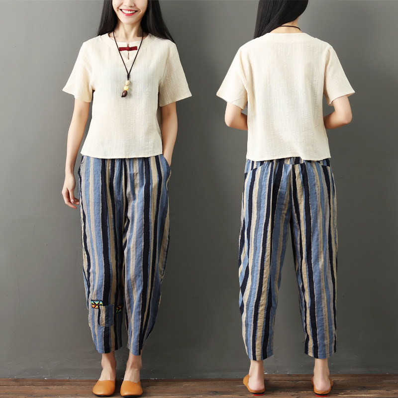 National wind striped cotton and linen nine pants women 2019 new literary large size female pants loose high waist harem pants 4
