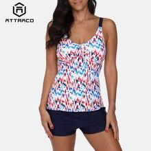 Attraco Tankini Set Women Swimwear Vintage Floral Print Swimsuit Tie Front Bikini Bathing Suit Beach Wear