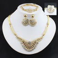 African Beads Costume Jewelry Sets  Gold Plated Fashion women Wedding Bridal Accessories Party Jewelry accessory gold