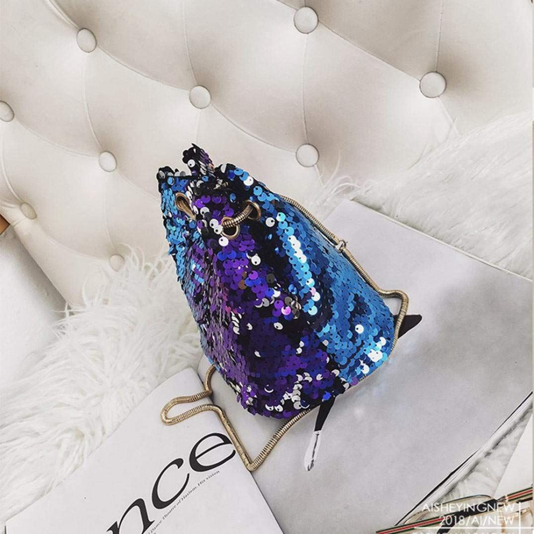 Women Sequins Bag Fashion Handbag Purse Glitter Shoulder Bag Evening Party Clutch for Girl(Blue) 2