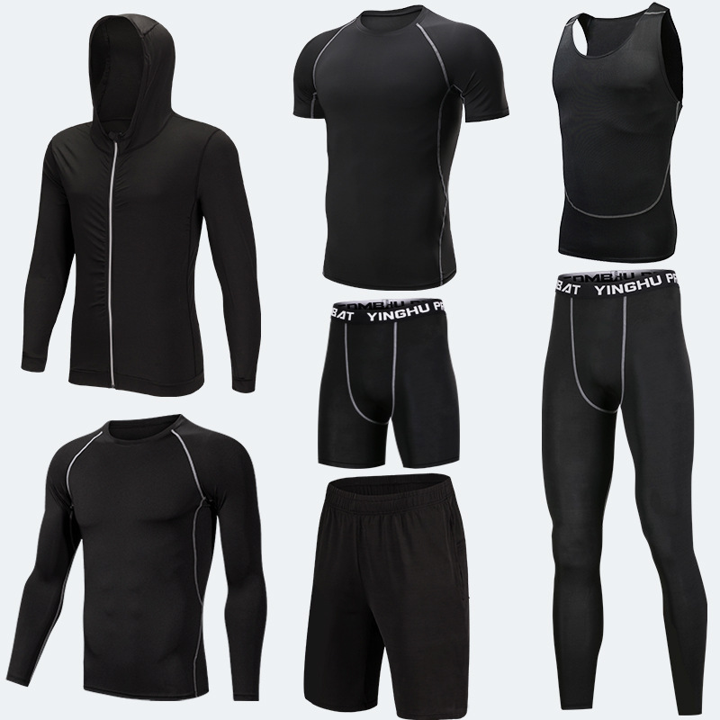 De formación de la ropa de los hombres 7 unids/set de compresión de Running conjuntos de Jogging medias ropa interior gimnasio deportes trajes