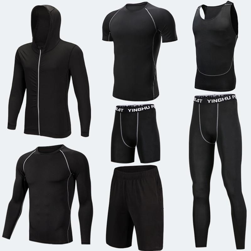 Vêtements d'entraînement en cours d'exécution hommes 7 pièces/ensembles ensembles de course à Compression collants de Jogging de basket-ball ensemble de sous-vêtements