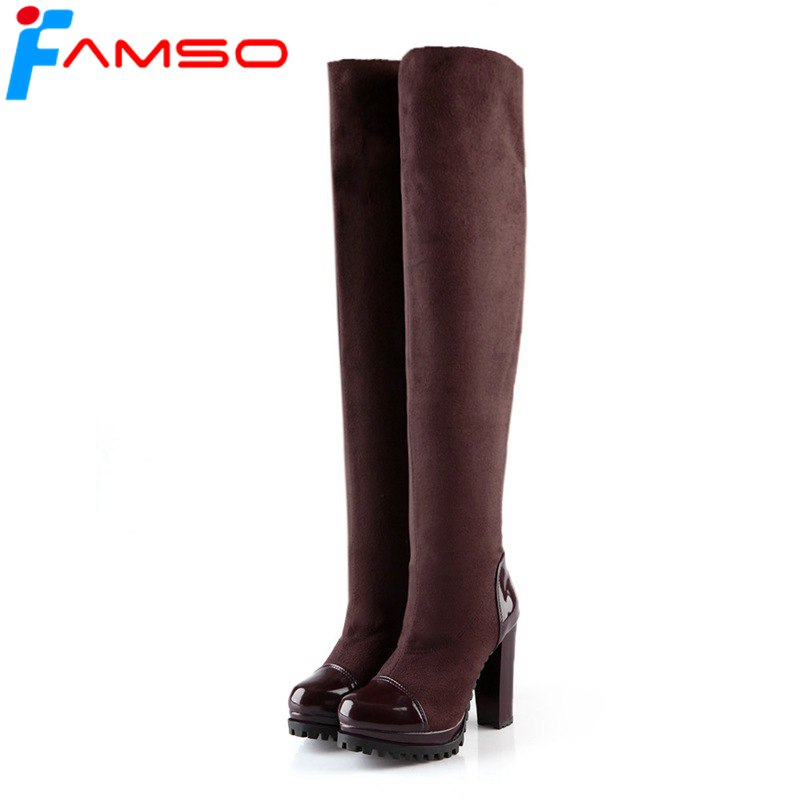FAMSO 2018 Big Size 34-43 black Brown Thigh High Boots High Heels Women Motorcycle Boots Winter Russia Snow Boots SBT3426