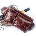 Novos Homens de Couro Genuíno Belt Bum Fanny Saco Da Cintura pacote de Viagem Do Vintage bolsa de Ombro Mensageiro Pacote Peito Hip Estilingue