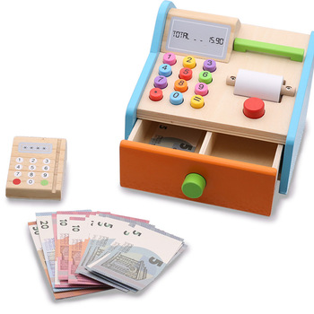 Drewniana zabawka dom zabaw zakupy zabawki śmieszne dzieci kasjer kasa fiskalna kasjer do odgrywania ról kasa fiskalna gra DIY zabawki dla dzieci prezenty tanie i dobre opinie 2-4 lat 5-7 lat 8 ~ 13 Lat Zawodów NoEnName_Null