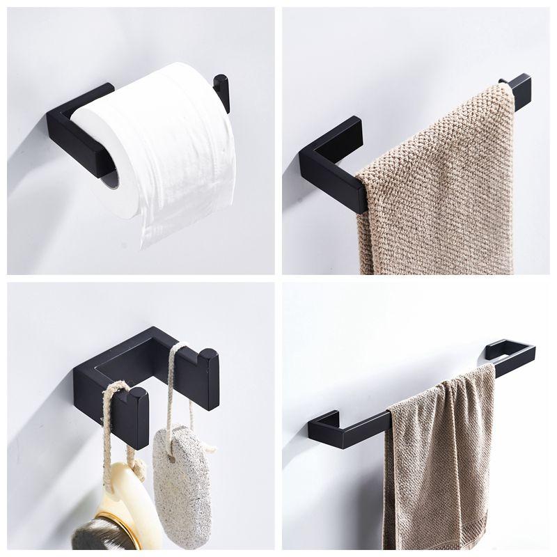 Matte Black 304 Stainless Steel Bathroom Hardware Set Robe Hook Towel Bar Toilet Paper Towel Holder Bathroom Accessories