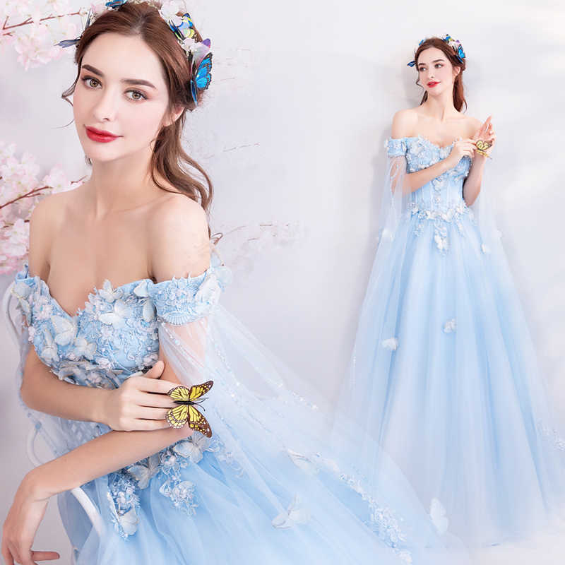 Sky Blue long fairy sweat lady girl women princess bridesmaid banquet party  ball dress gown 068efcf77ca9