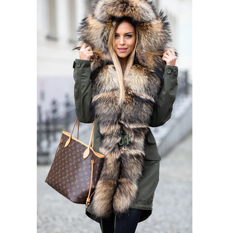 CKMORLS New Fashion Parkas With Natural Big Raccoon Fur Collar Armygreen Fur Jacket For Women Real Fur Coats Thick Warm Outwear in Real Fur from Women 39 s Clothing