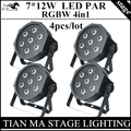 4pcs/lot 7X12W LED  Par light RGBW 4in1 DMX control professional dstage equipment disco lights