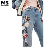Mooishe Spring Women High Waist Jeans Floral Embroidered Ankle Length Light Blue Women Denim Jeans Pants