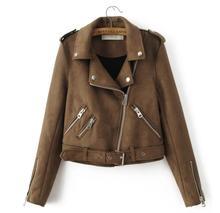 2017 Europe Fashion New Suede Jacket Lapel Zipper Locomotive Jacket Women Fashion Jacket