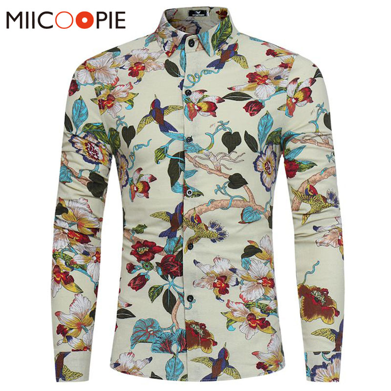 New 2018 Spring Autumn Linen Dress Shirts Luxury Floral Animal Print Stylish Long Sleeve Casual Hawaii Shirt Men Camisas XXXL