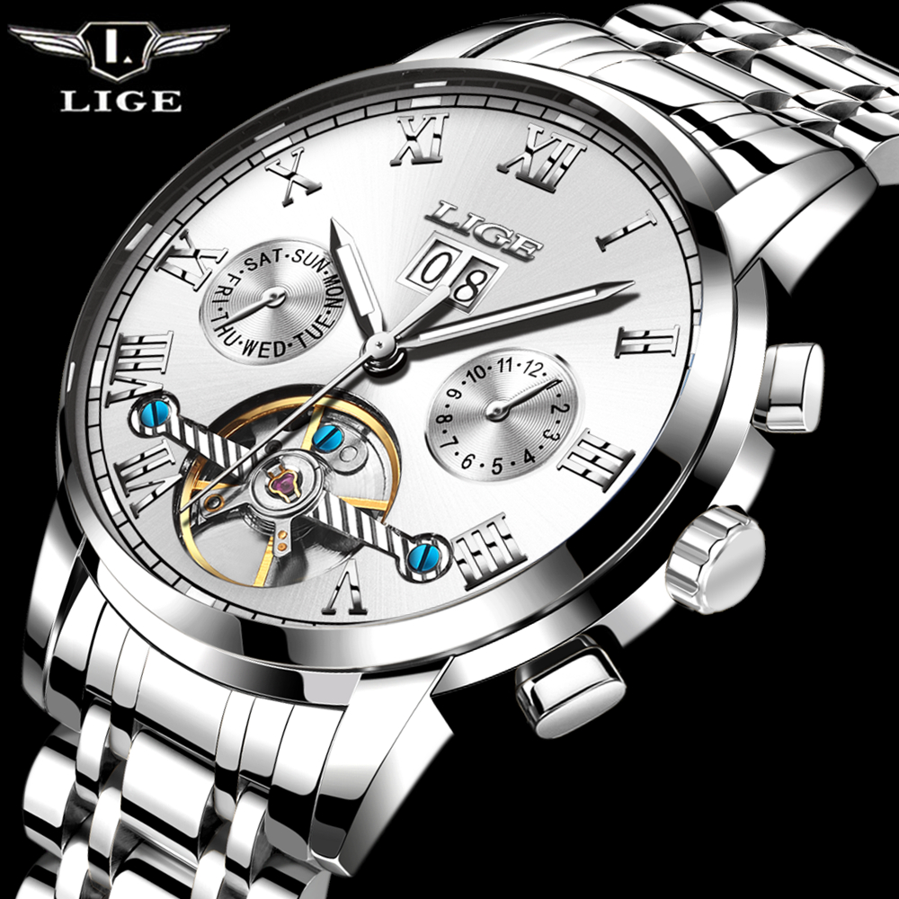 2017 LIGE Luxury Brand Automatic Machinery Watches Men Full Steel  Waterproof Business Watch Man Fashion Clock Relogio Masculino 2017 new full steel automatic watch binger casual fashion wristwatch with gold calendar man business hours clock relogio reloj