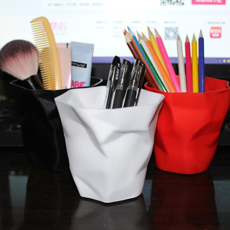 1 Pcs Pen Pencil Holder Container Desk Multifunction Mini Desktop Dustbin Vase Pot Makeup Brush Holders Home Office Stationery