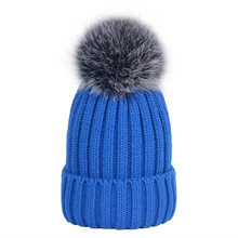 9273649014d 2017 Women Fashion Warm Autumn Winter Hat Ladies Big Real Fox Fur Ball Snow Cap  Hat Ladies Thick Knitted Cap Macka Oxota Sitka