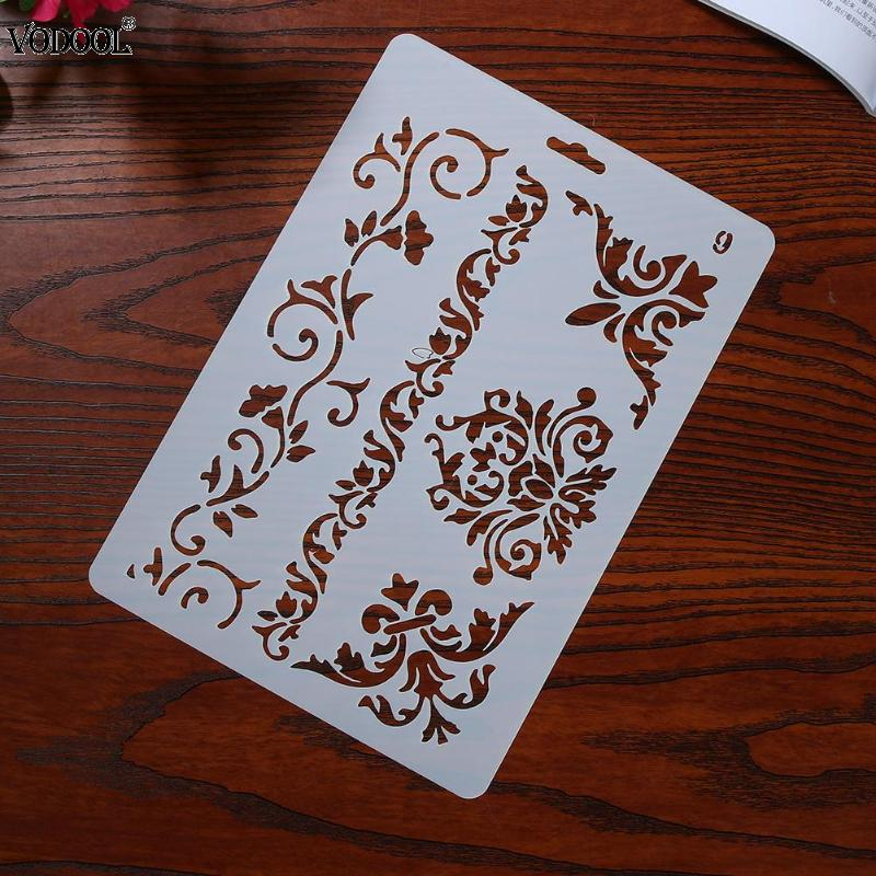 Hollow Flower Lace Stencils Plastic Template Ruler DIY For Scrapbooking Drawing Painting Tools Photo Album Student Supplies