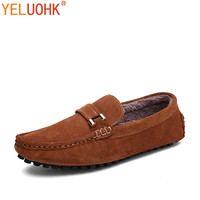 38 46 New Winter Shoes For Men Loafers Suede Leather Shoes Men Moccasins Fur Men Shoes
