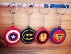 Marvel Super Hero Superman Keychains 3D Soft PVC Toys Pendants Keyrings Captain Ameirica Shield Iron Man Batman Mark Jouets