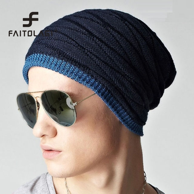 Winter Autumn Men Hats Cotton Weave Beanies Ski Warm Windproof Skullies  Male Hip-pop Hats bonnet muts gorro e6cce052768