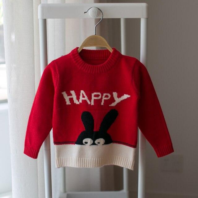 2017 new autumn and winter children sweater baby girls cartoon rabbit round neck pullover kids sweater infant
