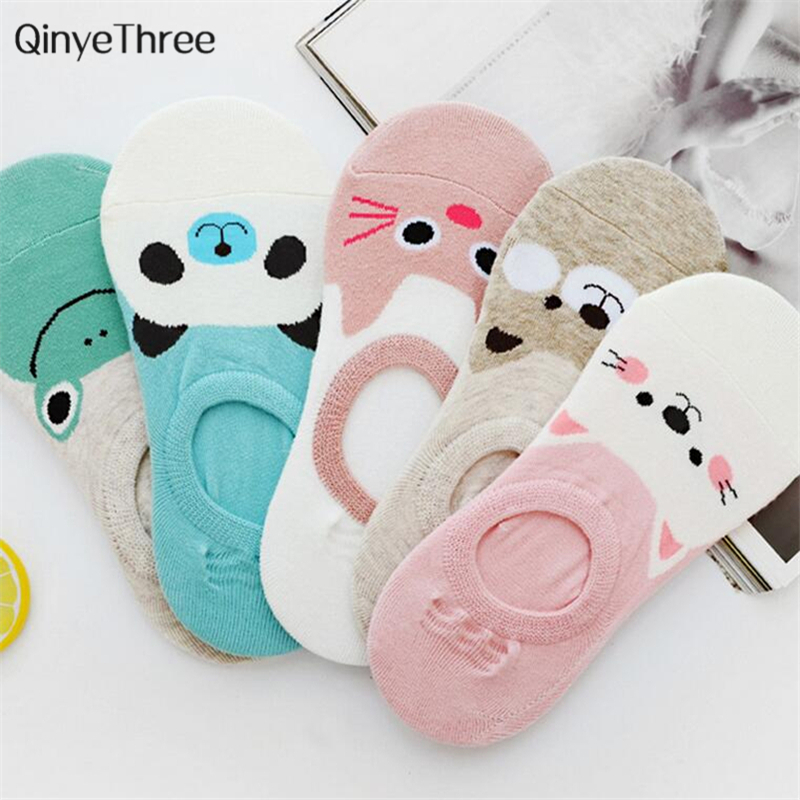 New Women Candy Color Sock Small Animal Cartoon Short 100% Cotton Boat Socks Breathable Casual Ladies Funny Sock Panda Bear Cat