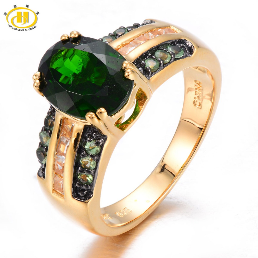 Hutang Natural Chrome Diopside & Mint Tsavorite Ring Solid 925 Sterling Silver Women's Gemstone Wedding Jewelry 2017 New цена и фото