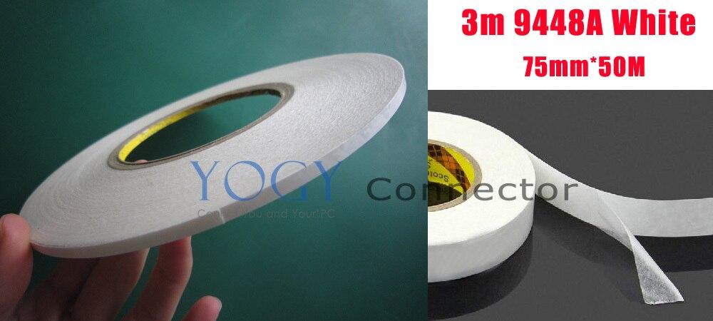 1x75mm 3M 9448a cinta adhesiva blanca de dos lados para componentes de ordenador Panel eléctrico de Metal adhesivo