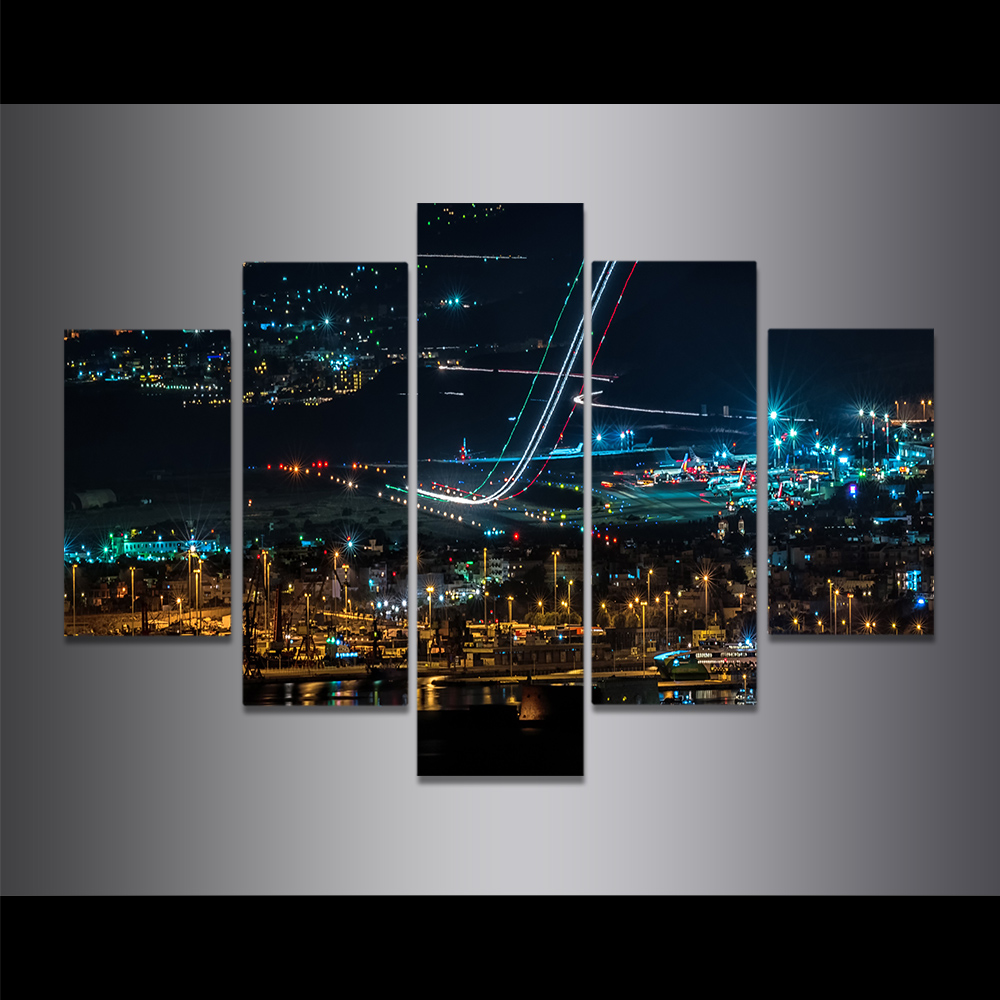 Unframed Canvas Painting Beautiful City Lights Night View Picture Prints Wall Picture For Living Room Wall Art Decoration
