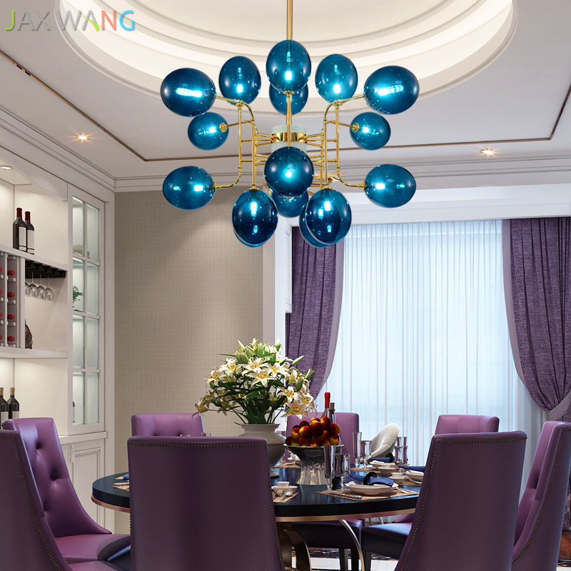 Modern Novelty Chandelier Lights Restaurant Bar Iron Chandelier Lamp Living Room Coffee Shop Glass Shade Hanging Light Fixtures Choice Materials Lights & Lighting Chandeliers